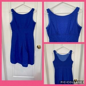 J Crew Blue Seersucker A-line Dress (EUC)